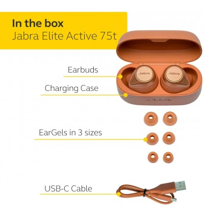 Jabra Elite Active 75T True Wireless Active Noise Cancelling Bluetooth Earbuds for Running and Sport, 24 Hour Battery