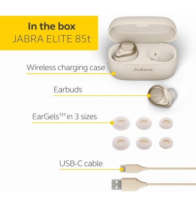 Jabra Elite 85T True Wireless Advanced Noise-Cancelling Bluetooth Earbuds for Calls & Music with Superior Sound & Premium Comfort