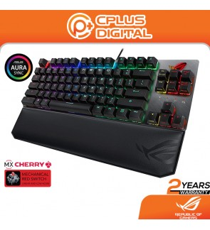 ASUS ROG Strix Scope TKL Deluxe Mechanical Gaming Keyboard with Cherry MX Red Switch, Integrated Leather Wrist Rest