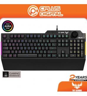 ASUS TUF K1 Membrane Gaming Keyboard for PC   Programmable Key   Volume Knob, Aura Sync RGB   Detachable Wrist Rest  