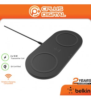 Belkin WIZ008 Wireless Boost Charge Charger with Two Charging Pads (Wireless Dual Charger, 15W Fast Charging
