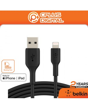 Belkin Lightning Cable (Boost Charge Lightning to USB PVC Cable for iPhone, iPad) MFi-Certified Charging Cable, 1 Meter