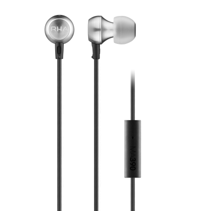 RHA MA390 Universal: Noise Isolating Aluminium In-Ear Headphones with Universal Remote & Microphone, 3 Year Warranty included