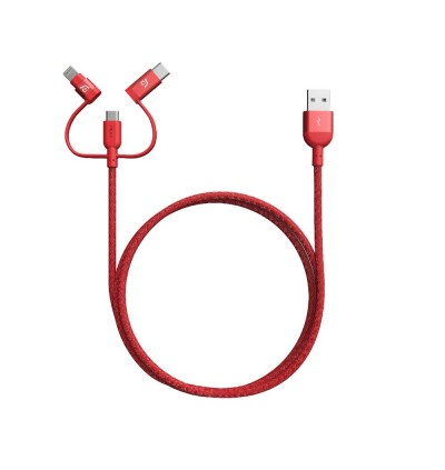 Adam Elements Peak Trio 120B USB to Type C+ Micro USB + Lightning Cable 1.2M