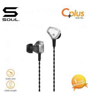 SOUL Impact 2 Balance Armature Dynamic Dual Drivers HD Earphone (Silver)