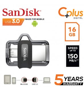 SanDisk Ultra Dual Drive 16GB M3.0 OTG USB Flash Drive for Android & Computers (SDDD3-016G-G46)