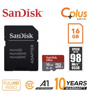 SanDisk Ultra 98mb/s 16GB microSDHC Memory Card + SD Adapter with A1 App Performance up to 98MB/s