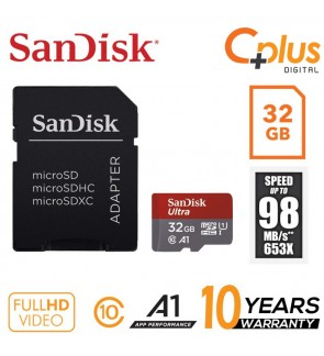 SanDisk Ultra 98mb/s 32GB microSDHC Memory Card + SD Adapter with A1 App Performance up to 98MB/s
