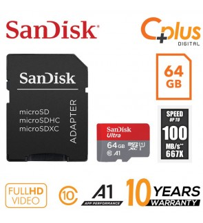 SanDisk Ultra 100mb/s 64GB microSDXC Memory Card + SD Adapter with A1 App Performance up to 100MB/s