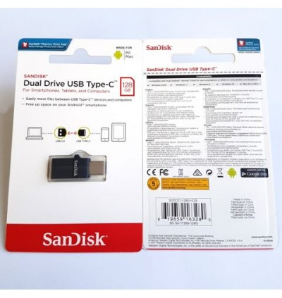 SanDisk Dual Flash Drive Type-C OTG USB for Android Smartphone, Computers & Tablets 16/32/64/128GB