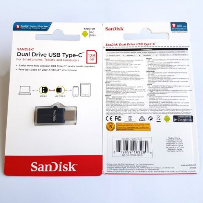 SanDisk Dual Flash Drive Type-C OTG USB for Android