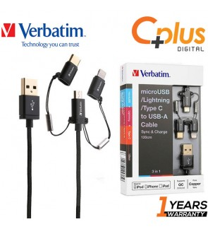 Verbatim 3 in 1 USB to MicroUSB / Lightning / Type-C MFI Cable
