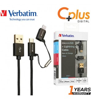 Verbatim 2 in 1 USB to MicroUSB / Lightning MFI Sync & Charge Cable 1.2M