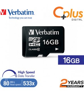 Verbatim microSDHC, 16GB, C10, 80MB/S Without Adapter