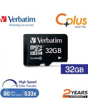 Verbatim microSDHC, 32GB, C10, 80MB/S Without Adapter