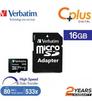 Verbatim microSDHC, 16GB, C10, 80MB/S With SD Adapter