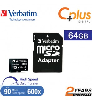Verbatim microSDHC, 64GB, C10, 90MB/S With SD Adapter