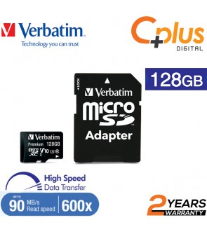 Verbatim microSDHC, 128GB, C10, 90MB/S With SD Adapter