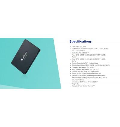 """Verbatim 2.5"""" SSD Sata III 256GB"""