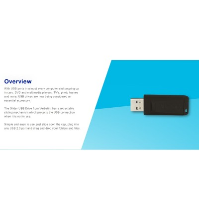 Verbatim New Slider USB 2.0 Flash Drive 16GB/32GB