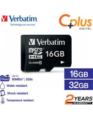 Verbatim microSDHC C10, 80MB/S Without Adapter 16GB/32GB/64GB