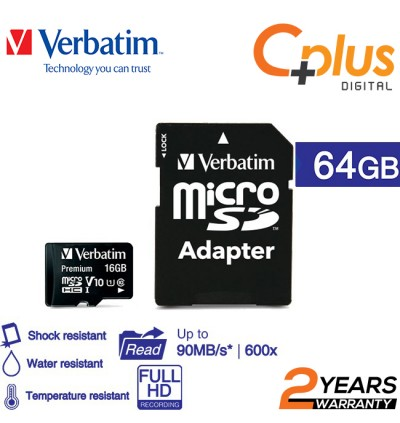Verbatim microSDHC,C10, 80MB/S With SD Adapter 16GB/32GB/64GB/128GB
