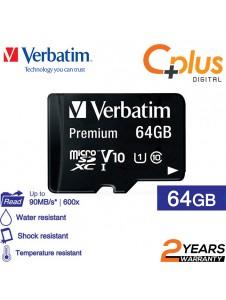 Verbatim microSDHC, 64GB, C10, 80MB/S Without Adapter