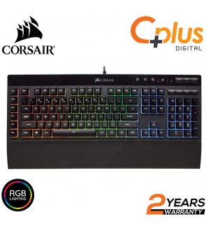 Corsair K55 RGB Membrane Gaming Keyboard - Quiet & Satisfying LED Backlit Keys - Media Controls - Wrist Rest Included – Onboard Macro Recording