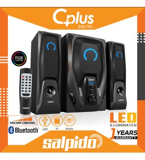 Salpido G6 Core 2.1 Bluetooth Speaker with RGB Lightning & Remote Control, Support for USB, SD Cards, Radio Functions.