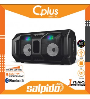 Salpido Waves Portable Bluetooth Subwoofer TWS Speaker Support for USB, SD Cards, Radio , Lights Function