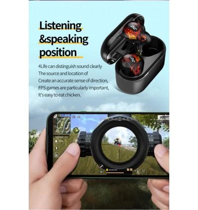 Plextone 4Life Bluetooth 5.0 TWS True Wireless Semi In-Ear Earbuds For Music & Gaming