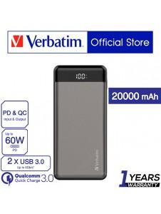 Verbatim 20000mAh 66W PD & QC 3.0 Powerbank with Digital Display