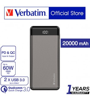 Verbatim 20000mAh 66W PD & QC 3.0 Powerbank with Digital Display