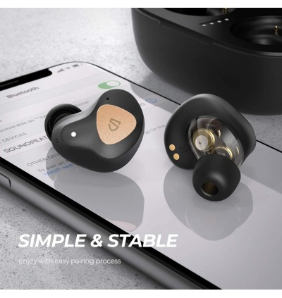 SoundPEATS Truengine 3 SE True Wireless Earbuds with Dual Dynamic Drivers, 30 Hours Playtime, Touch Control, Bluetooth Headphones with Dual Mic,Compact Charging Case(USB-C)