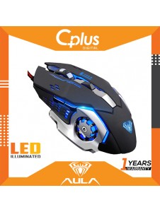 AULA S20 Gaming Mouse Marco Programmable Cool Lighting USB Optical Mouse Gaming for PC Laptop Computer