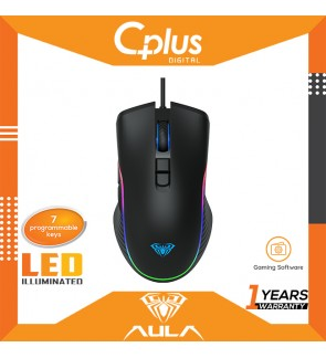 Aula F806 Marco Programmable RGB Colorful Lightning Gaming Mouse-4 Gear DPI, 7 programmable buttons for PC Laptop Computer