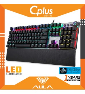 AULA F2088 Gaming Mechanical Keyboard Wrist Rest Multimedia Knob, Marco Programming Metal Panel LED Backlit Keyboard for Computer Gamer