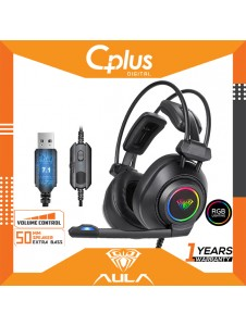 AULA S600 USB 7.1 Gaming Headset Deep Bass Computer Headphone With Microphone LED Lighting Effect And Stereo Sound Close Earmuffs