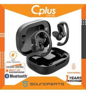 SoundPEATS Truewings Bluetooth 5.0 Headphones Over-Ear Hooks in-Ear Stereo Wireless Earphones, Touch Control, IPX7 Waterproof for Sports, Single/Twin Mode, USB-C Charge