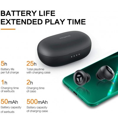 Tranya Rimor Bluetooth 5.0 Hi-Fi True Wireless Earbuds with 10mm Driver - 25Hour Total Playtime
